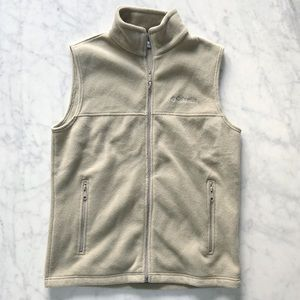 Columbia Tan Front Full Zip Vest Size Small
